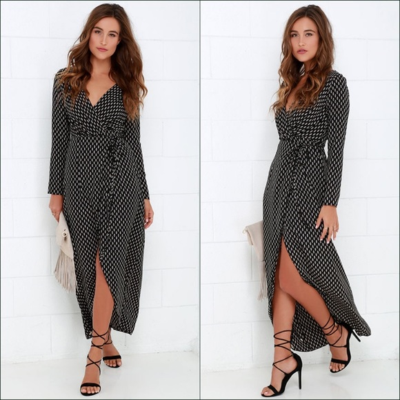 Lulu's Dresses & Skirts - Black Long Sleeve Maxi Wrap Dress